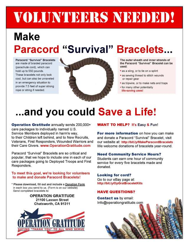 Wanted: Volunteers to Make Paracord Bracelets